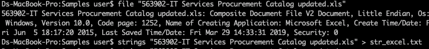 file and strings on xls