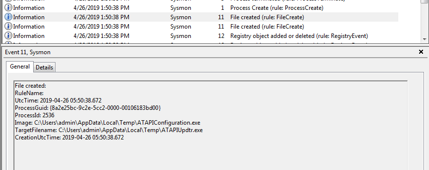 Sysmon File Create for ATAPIUpdtr.exe
