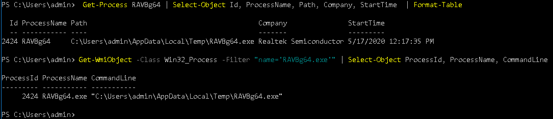 Get-Process & Get-WmiObject PowerShell cmdlets output