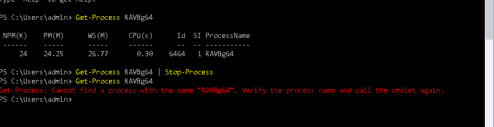 PowerShell Command for Stop-Process