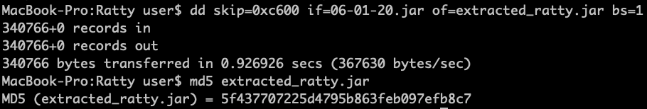 dd cmd for extracting Ratty jar